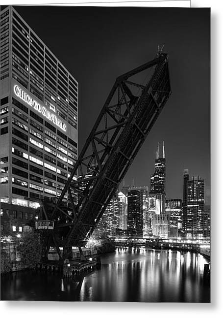 Cityscape Photographs Greeting Cards - Kinzie Street railroad bridge at night in Black and White Greeting Card by Sebastian Musial