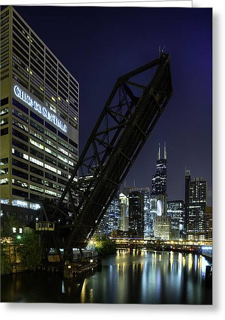 Riverfront Greeting Cards - Kinzie Street railroad bridge at night Greeting Card by Sebastian Musial