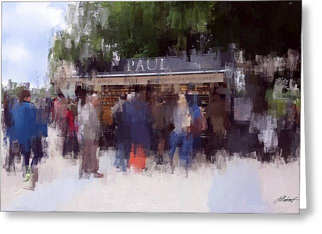 Food Kiosk Greeting Cards - Kiosk in Tuileries Gardens Greeting Card by James Metcalf