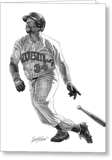 Minnesota Twins Greeting Cards - Kirby Puckett Greeting Card by Harry West