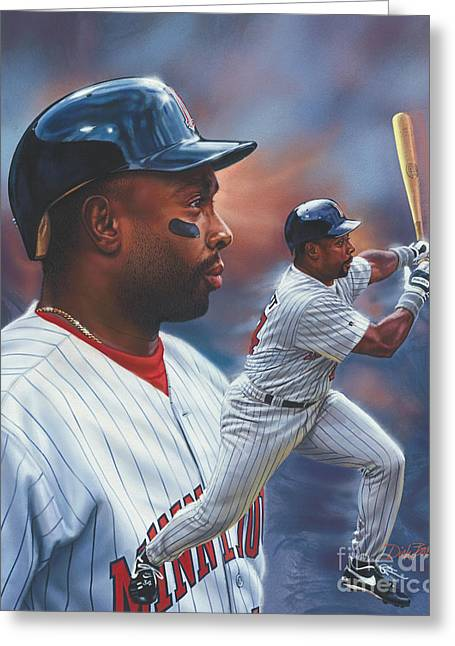 Baseball Paintings Greeting Cards - Kirby Puckett Minnesota Twins Greeting Card by Dick Bobnick