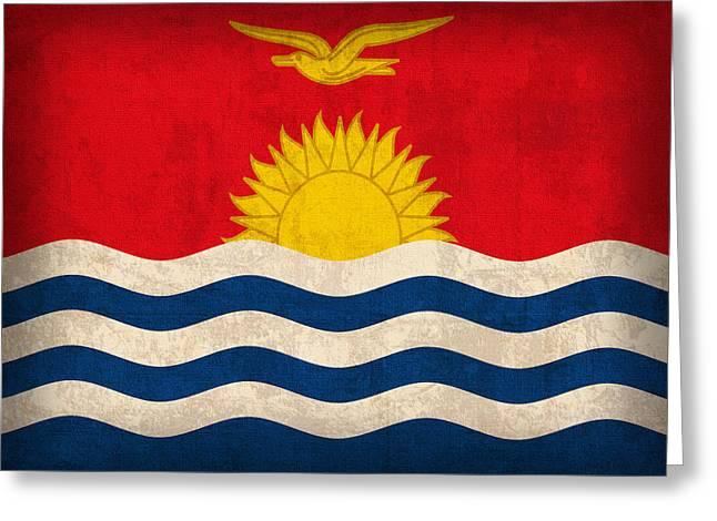 National Mixed Media Greeting Cards - Kiribati Flag Vintage Distressed Finish Greeting Card by Design Turnpike