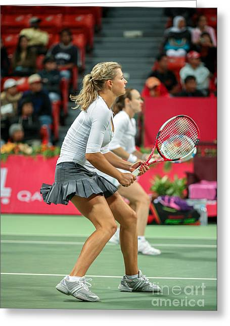 Maria Kirilenko Greeting Cards - Kirilenko and Hingis in Doha Greeting Card by Paul Cowan