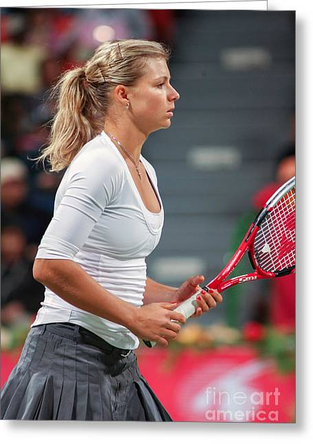 Maria Kirilenko Greeting Cards - Kirilenko in Doha Greeting Card by Paul Cowan
