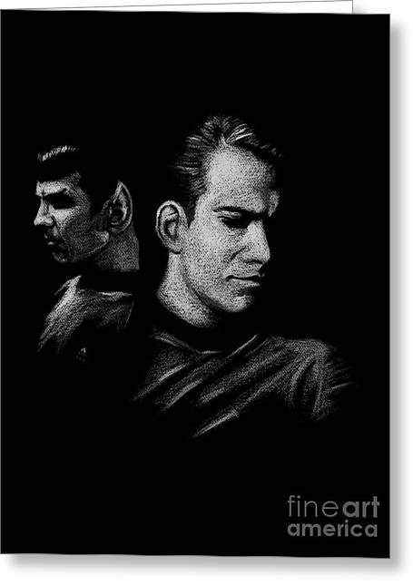 Kirk Pyrography Greeting Cards - Kirk and Spock Greeting Card by Marivi Troy