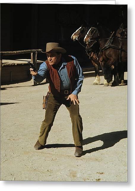 Kirk Douglas Greeting Cards - Kirk Douglas A Gunfight promo 1971 Greeting Card by David Lee Guss