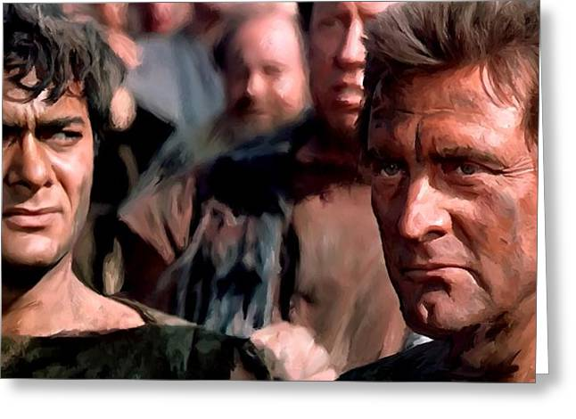Kirk Douglas Greeting Cards - Kirk Douglas and Tony Curtis in the film Spartacus Greeting Card by Gabriel T Toro