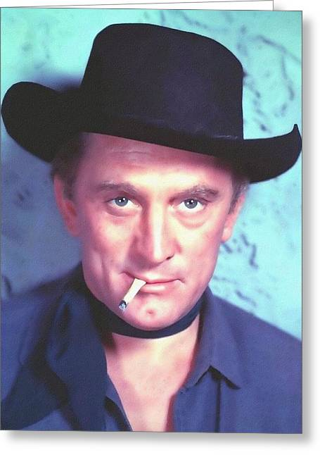 1955 Movies Mixed Media Greeting Cards - Kirk Douglas in Man Without a Star Greeting Card by Art Cinema Gallery