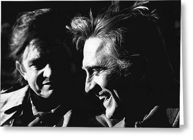 Judge Roy Bean Greeting Cards - Kirk Douglas laughing Johnny Cash Old Tucson Arizona 1971 Greeting Card by David Lee Guss