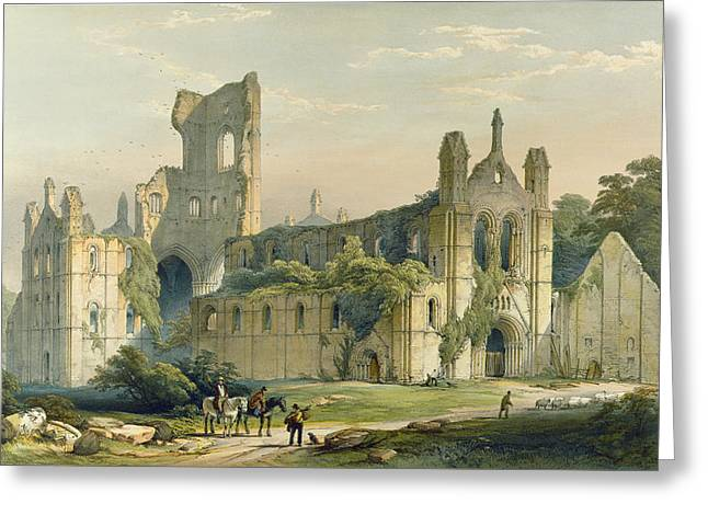 Portal Drawings Greeting Cards - Kirkstall Abbey From The North West Greeting Card by William Richardson