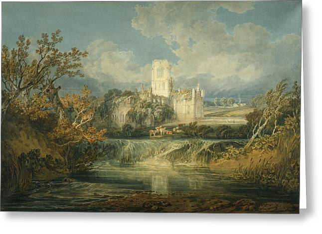 West Yorkshire Greeting Cards - Kirkstall Abbey, Yorkshire, 1797 Greeting Card by Joseph Mallord William Turner