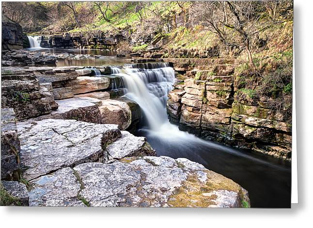 Burton Greeting Cards - Kisdon Force Waterfall Greeting Card by Chris Frost