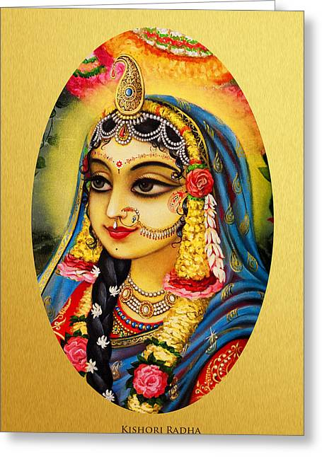 Gopi Greeting Cards - Kishori Radha portrait  Greeting Card by Vrindavan Das