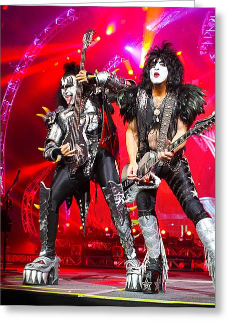 Kissing Greeting Cards - KISS - 40th Anniversary Tour Live - Simmons and Stanley Greeting Card by Epic Rights