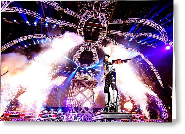 Peter Criss Greeting Cards - KISS - 40th Anniversary Tour Live - Stanley guitar swing Greeting Card by Epic Rights