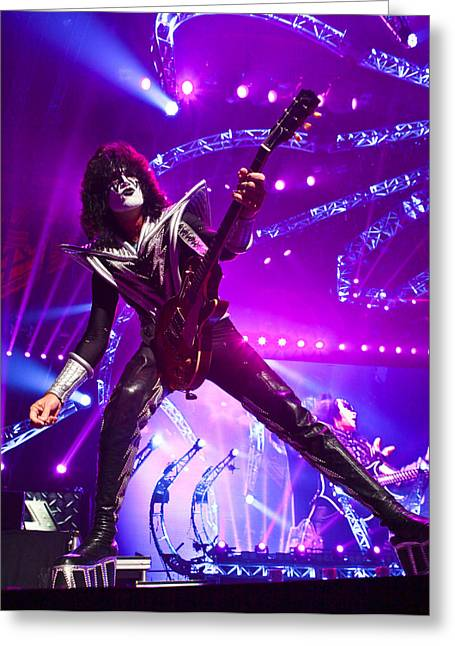 Peter Criss Greeting Cards - KISS - 40th Anniversary Tour Live - Tommy Thayer Greeting Card by Epic Rights