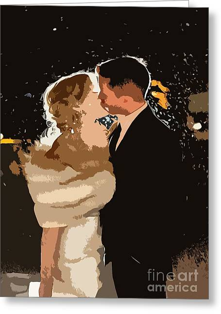 Catherine White Greeting Cards - Kiss Greeting Card by Catherine Lott AKA The Broadcast Monkey