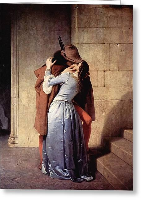 Hayez Paintings Greeting Cards - Kiss Greeting Card by Francesco Hayez