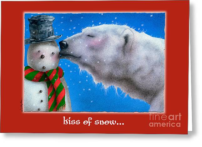 Polar Bears Greeting Cards - kiss of Snow... Greeting Card by Will Bullas
