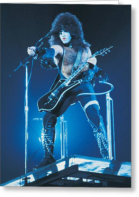 Elevated Greeting Cards - KISS - Paul Stanley 1977 Greeting Card by Epic Rights