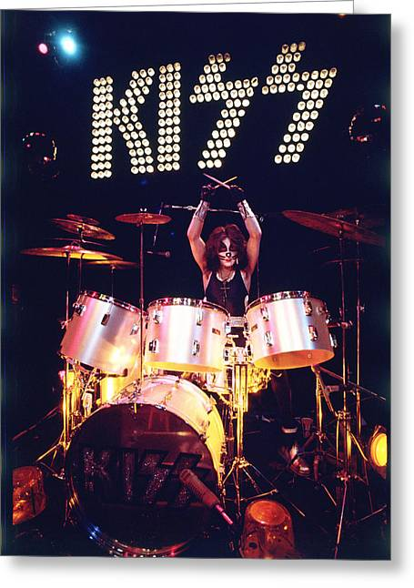 Drummers Photographs Greeting Cards - KISS - Peter Criss 1973 Greeting Card by Epic Rights
