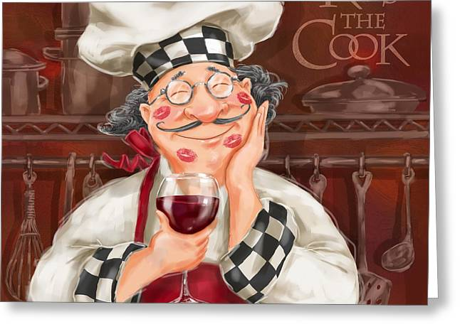 Dine Mixed Media Greeting Cards - Kiss the Cook Greeting Card by Shari Warren