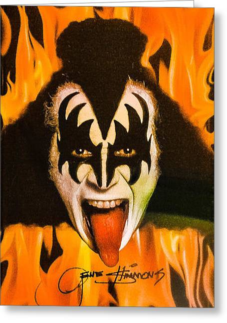 Playing Musical Instruments Greeting Cards - Kiss The Demon Greeting Card by Gary Keesler