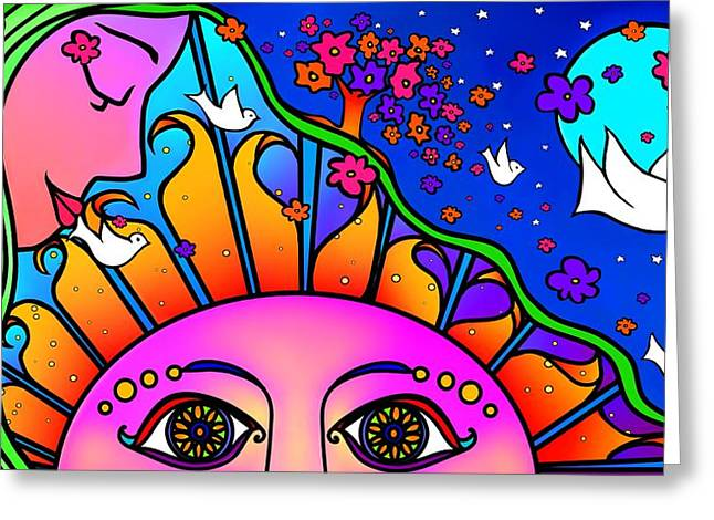 Peter Max Greeting Cards - Kiss The Sun Greeting Card by Mary Eichert