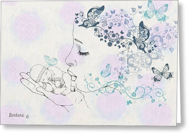 Kiss to a New Born Greeting Card by Barbara Orenya