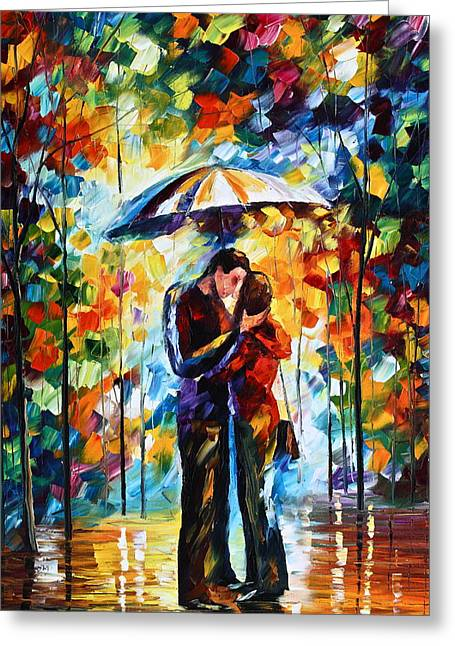Original Oil Paintings Greeting Cards - Kiss Under The Rain 2 Greeting Card by Leonid Afremov