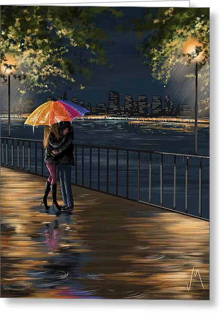 Umbrellas Greeting Cards - Kiss Greeting Card by Veronica Minozzi