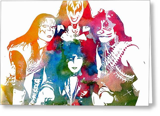 The 80s Greeting Cards - Kiss Watercolor Pop Art Greeting Card by Dan Sproul