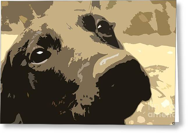 Recently Sold -  - Puppy Digital Art Greeting Cards - Kissable Greeting Card by P Russell