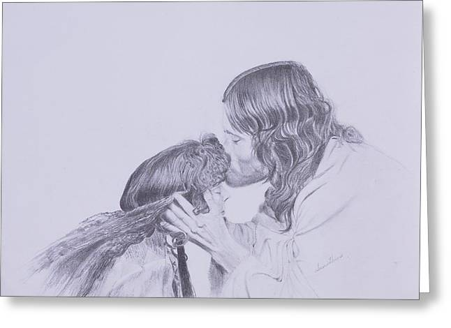Kissed By Redemption From The Life Of Jesus Series Greeting Card by Susan Harris