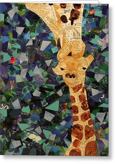 Giraffe Drawings Greeting Cards - Kisses from Momma Greeting Card by Paula Dickerhoff