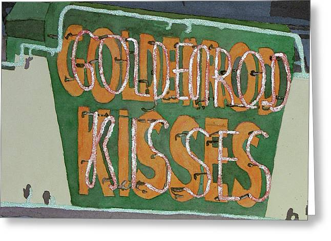 Kisses Neon Sign Greeting Card by Daryl Shaw
