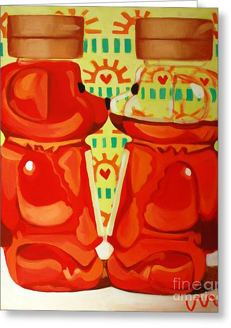 Kitchen Greeting Cards - Kissing Bears Greeting Card by Jayne Morgan