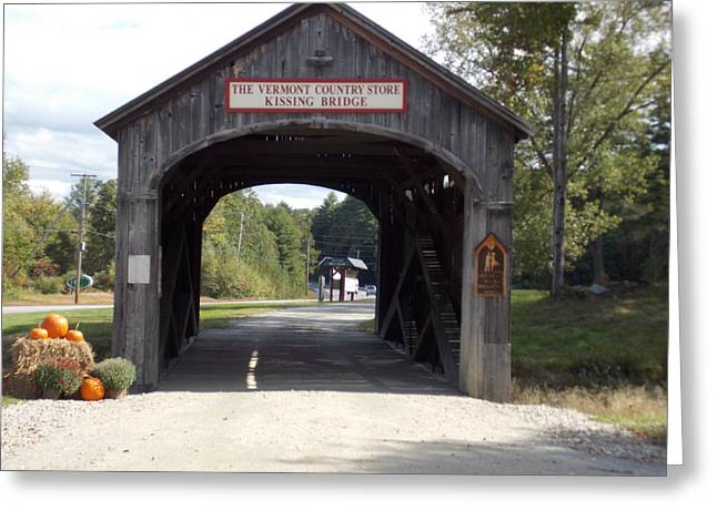 Vermont Country Store Greeting Cards - Kissing Bridge Greeting Card by Catherine Gagne