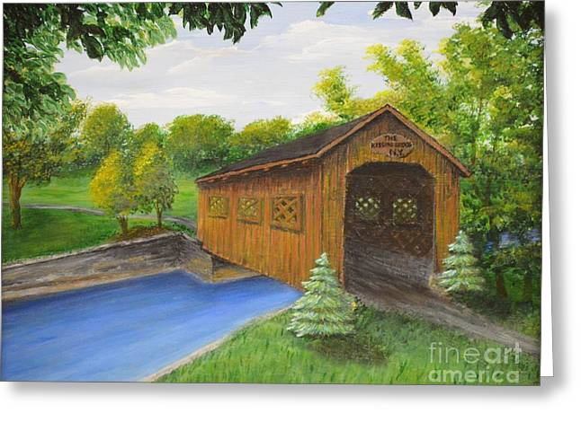 Photograph Of Artist Paintings Greeting Cards - Kissing Bridge Ticonderoga NY Greeting Card by Carolyn Freligh