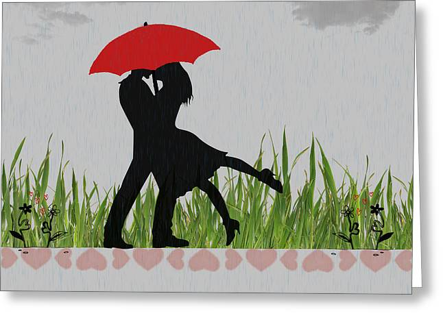 Dripping Rose Greeting Cards - Kissing in the rain Greeting Card by Becca Buecher