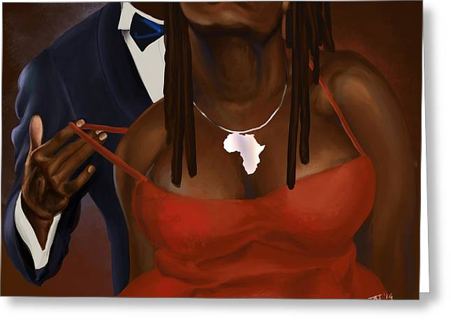 Blackart Greeting Cards - Kissing My Neck Greeting Card by David James