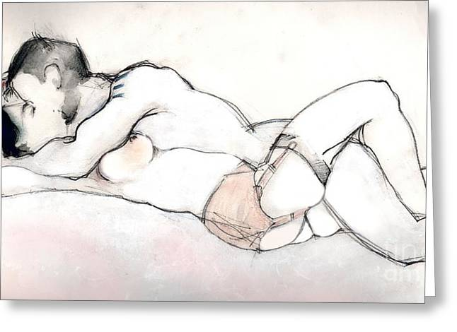 Romance Mixed Media Greeting Cards - Kissing - Nude Couple in Love Greeting Card by Carolyn Weltman