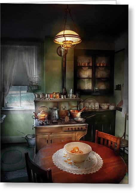 Cabinet Room Greeting Cards - Kitchen - 1908 kitchen Greeting Card by Mike Savad
