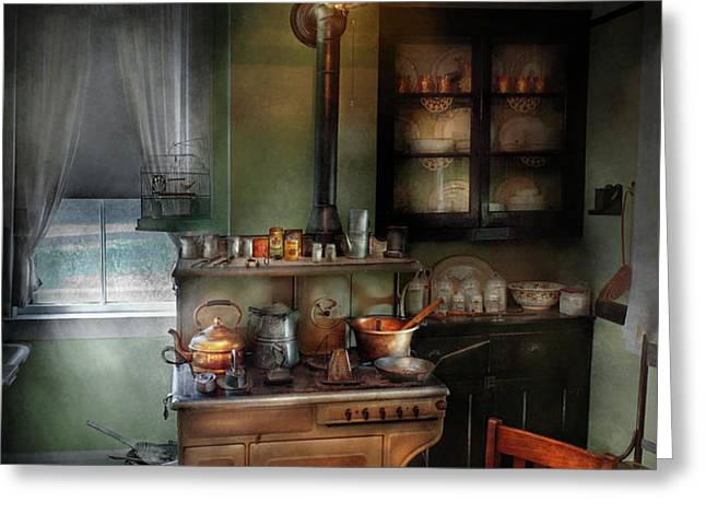 Kitchen - 1908 kitchen Greeting Card by Mike Savad