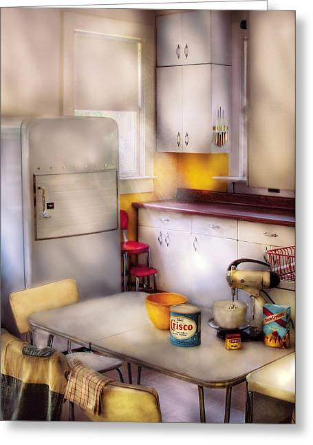 Kitchen - A 1960's Kitchen  Greeting Card by Mike Savad