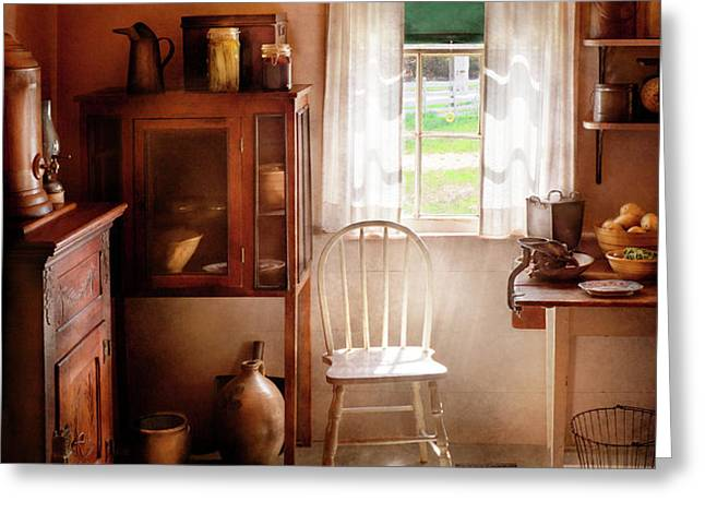 Kitchen - A cottage kitchen  Greeting Card by Mike Savad