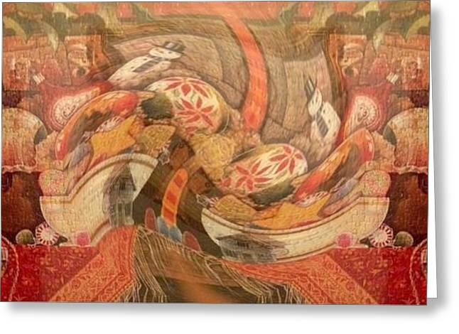 Cloth Greeting Cards - Kitchen Art Greeting Card by Caroline Gilmore