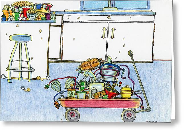 Lemon Art Drawings Greeting Cards - Kitchen Caddy Greeting Card by Mag Pringle Gire