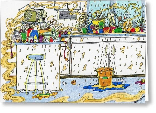 Culinary Drawings Greeting Cards - Kitchen Catastrophe Greeting Card by Mag Pringle Gire