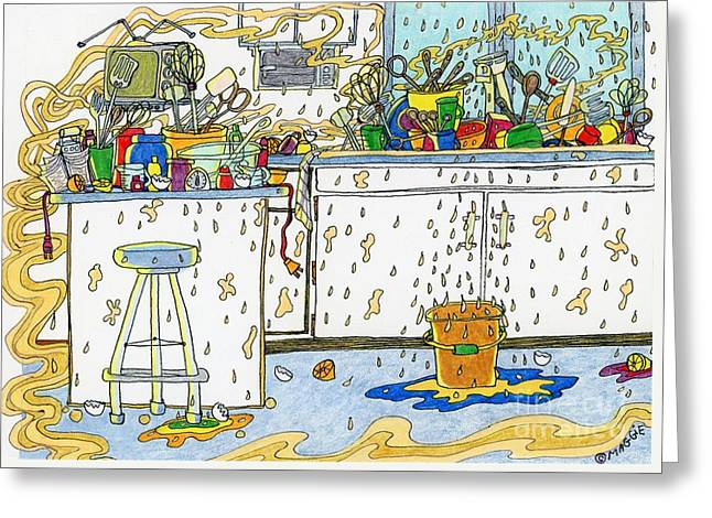 Culinary s Drawings Greeting Cards - Kitchen Catastrophe Greeting Card by Mag Pringle Gire